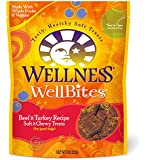 Wellness WellBites Soft Natural Dog Treats Made in USA Only, Beef & Turkey Biscuits, 8-Ounce Bag