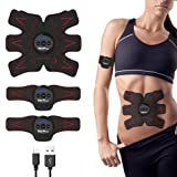 Wolfyok Abdominal Muscle Toner, USB Rechargeable Abs Toning Belt & Abdominal Body Muscle Fitness Trainer Gear ABS Stimulator for Abdomen/Arm/Leg Training Men Women, 1 Year Warranty