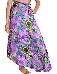 Exotic India Dahlia-Purple Wrap-Around Skirt With Printed Flowers - Purple