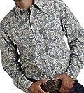 Roper Western Shirt Mens L/S Paisley Snap Blue 03-001-0725-0452 GR