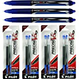Pilot Precise V5 Rt, 3 Pens 26063 with 4 Packs of Refills, Blue Ink, 0.5mm X-fine