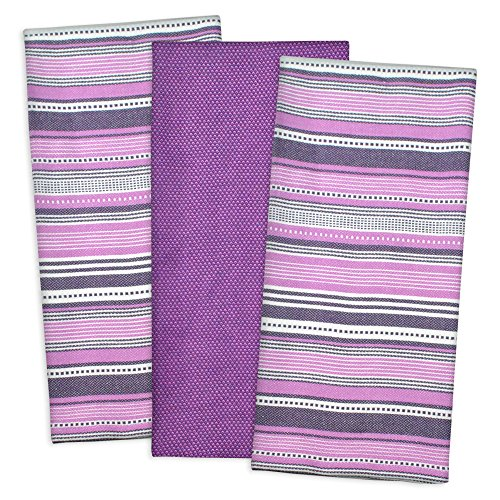 "DII 100% Cotton, Machine Washable, Pre Shrunk, Everday Kitchen Basic, Designer Inspired, Ultra Absorbent, 20x30"" Urban Stripe Dishtowel Set of 3, Eggplant"