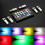 6pcs w5w LED Atmosphere lights, T10 RGB LED Bulbs with Remote Controller RGBW 501 194 168 6SMD 5050 Silicone Strobe light Use for Reading light, Roof light, Trunk light,Interior light (Color: 6 Bulbs + Controller)