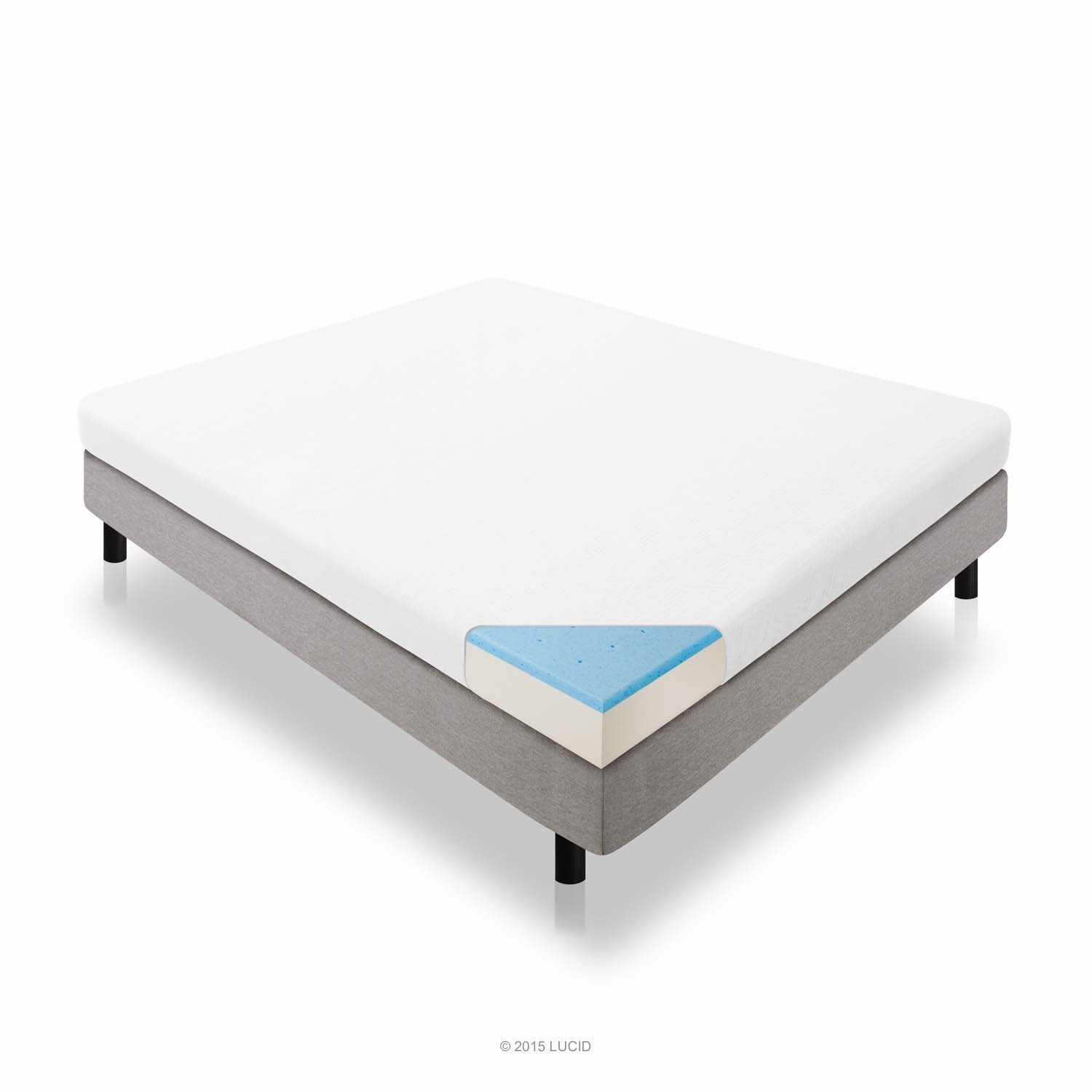 LUCID 5 Inch Gel Memory Foam Mattress – Dual-Layered – CertiPUR-US Certified – Firm Feel – Queen Size