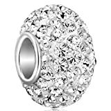 CharmSStory 925 Sterling Silver White Simulated Birthstone Charms Synthetic Crystal Bead For Bracelets