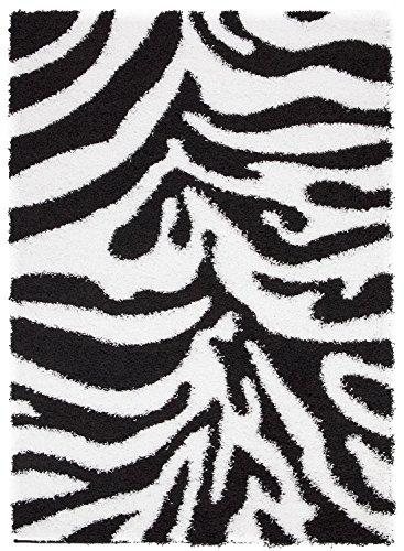 Sweet Home Stores Cozy Shag Collection Zebra Design Shag Rug, 7'10