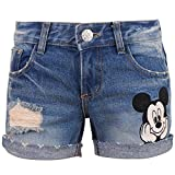 Disney Vintage Distressed Washed Cotton Denim Mickey Mouse Summer Roll-up Shorts