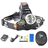 High Powered Lumen Bright Headlight Headlamp Flashlight Torch 3 XM-L2 T6 LED with Rechargeable Batteries and Wall Charger for Hiking Camping Riding Fishing Hunting (Color: 3L2)