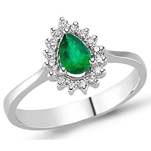 0.48 Carats 18k Solid White Gold Emerald and Diamond Engagement Wedding Bridal Promise Ring Bands