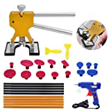 Yoohe Paintless Dent Repair Tools Kit - Gold Dent Lifter with 15pcs Dent Removal Pulling Tabs Suction Cup Plate PDR Hot Melt Glue Gun Pro Glue Sticks (Color: Golden)