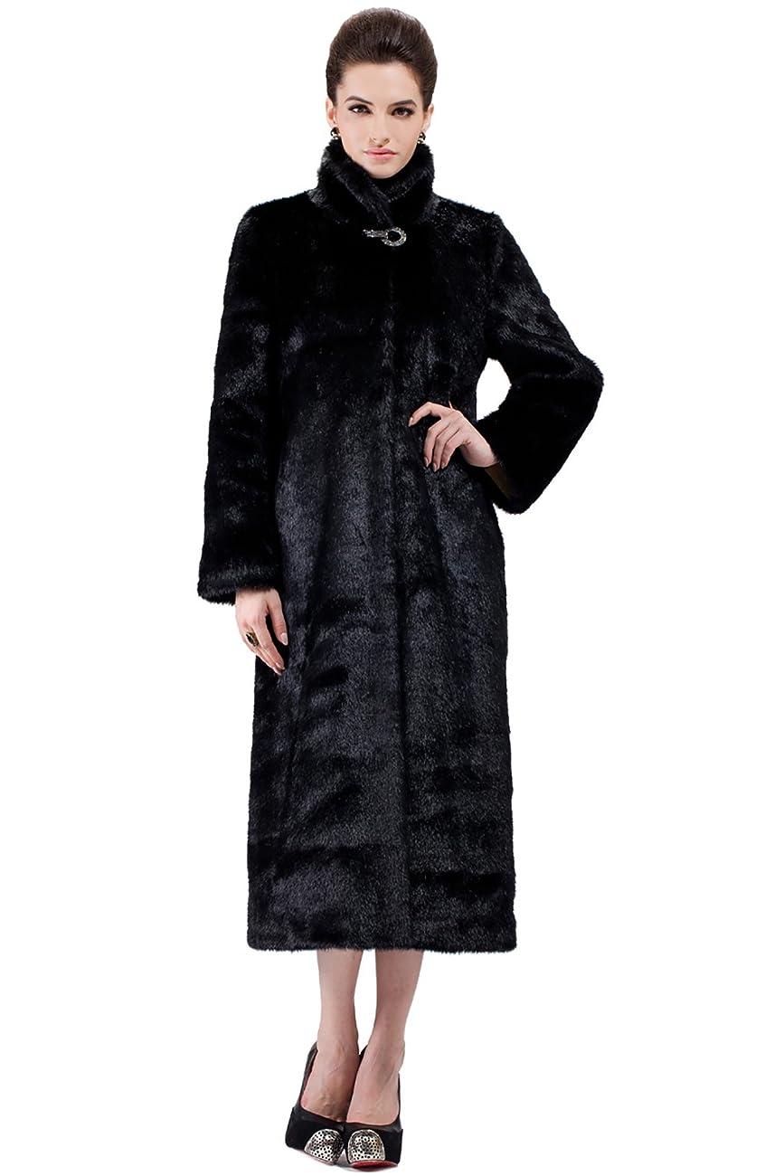 Adelaqueen Women's Elegant and Vintage Outerwear Mink Fabulous Faux Fur Coat 1