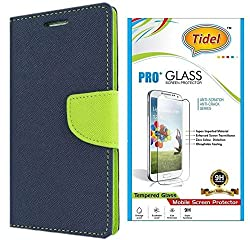 Tidel Premium Table Talk Fancy Diary Wallet Flip Cover Case for Lenovo A6000 Shot (Blue) With Tidel 2.5D Tempered Glass