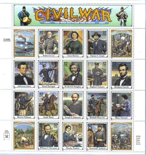 LEGENDS OF THE CIVIL WAR #2975 Pane of 20 x 32¢ US Postage Stamps