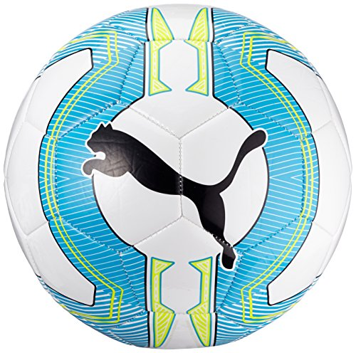 Pallone da calcio PUMA ultima 6,3 Trainer MS, White/Atomic Blue/safety Yellow, 5, 082563 01