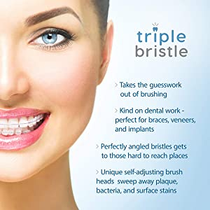 Triple Bristle Travel Sonic Toothbrush - AA Battery Electric Portable - Three Powerful Modes -Soft Nylon Bristles-Also For Autistic & Special Needs Adults and Kids (Triple Bristle Go + Oral Care Kit) (Color: Triple Bristle Go + Oral Care Kit)