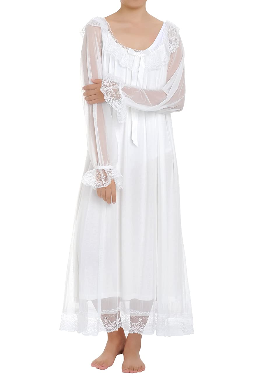 Latuza Women's Long Sheer Vintage Victorian Nightgown with Sleeves 1