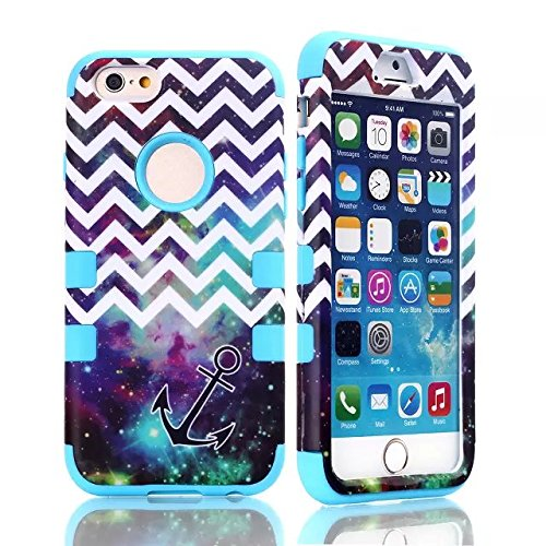 Queens® Three Hard Piece Wave Anchor Chevron Hybrid Impact 3In1 Armor Combo Rugged Hard Case Cover For Apple Iphone6 4.7 Inch (2-Blue)