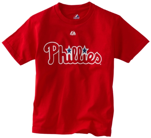 MLB Boys' Philadelphia Phillies Official Wordmark Short Sleeve Basic Tee by Majestic (Athletic Red, Medium) at Amazon.com