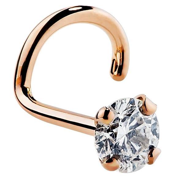 I1- 3mm (.10 ct. tw) Diamond 14K Rose Gold Nose Ring Twist Screw - 16G