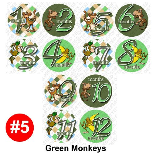 Onesie Stickers Baby Shower Gift GREEN MONKEYS Baby Month Photo Shower Stickers, baby shower gift by OnesieStickers