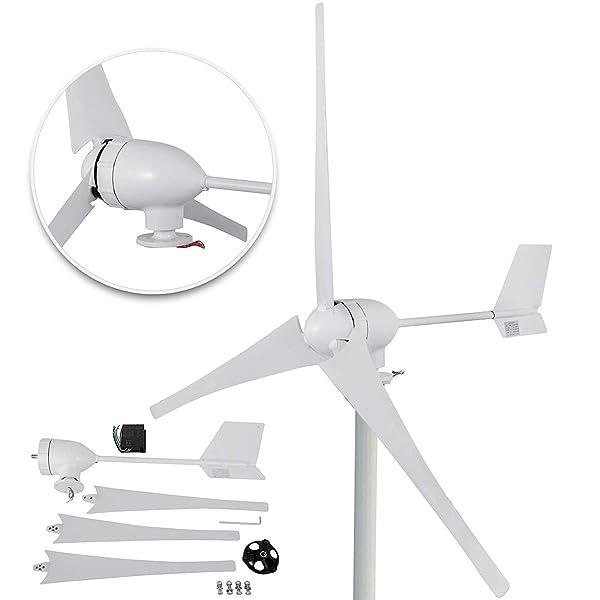 Happybuy Wind Turbine Generator 700W DC 24V Wind Turbine 3 Blade with Controller for Marine RV Homes Industrial Energy (Tamaño: 700W 24V)