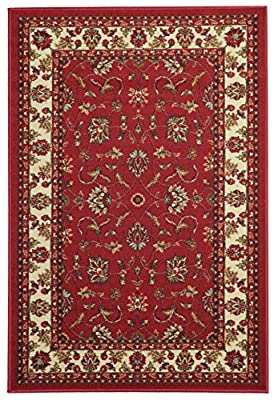 Rubber Back Red Ivory Blue Brown Traditional Floral Non-Slip (Non-Skid) Area Rug & Runner