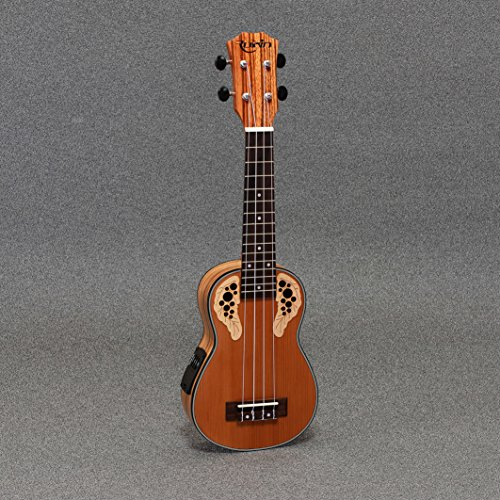 "Rubin Rs-700 Solid Cedar Top Zebrawood 21"" Soprano Acoustic Electric Ukulele"