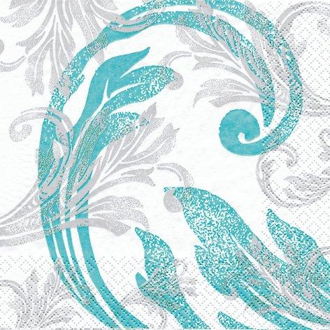 20 Servietten Classy Ornaments turquoise - Klassische Ornamente türkis / Muster / zur Kommunion / Konfirmation 33x33cm
