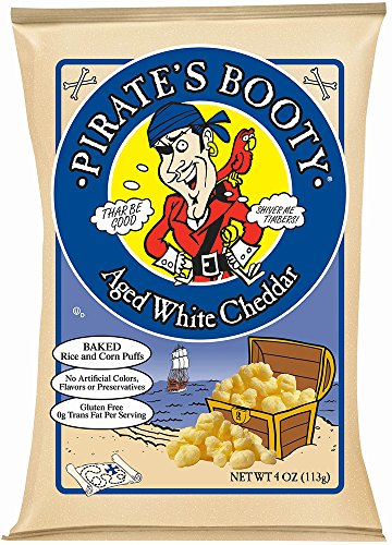 Pirate's Booty, Aged White Cheddar, 4-Ounce Bags (Packaging May Vary) (Pack of 12)