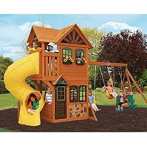 Cedar Summit Play Set Wooden House Deck Swings