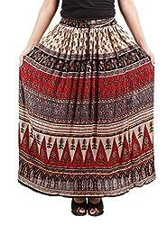 FEMEZONE Skirt Women's Cotton Regular Fit Rayon and Crepe Skirt (RED &BEIGE, XXL)
