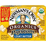Newman's Own Organics Pop's Corn, Organic Microwave Popcorn, Light Butter, 3-Count, 8.4-Ounce Boxes (Pack of 12)