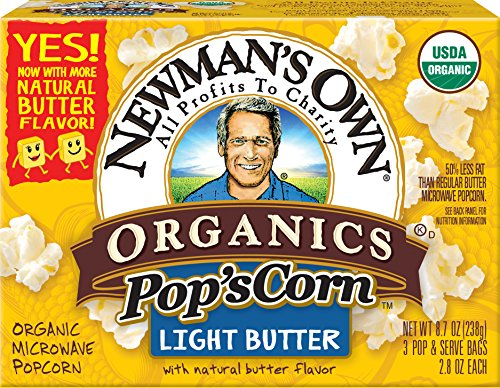 Newman's Own Organics Pop's Corn, Organic Microwave Popcorn, Light Butter, 3-Count, 8.7-Ounce Boxes (Pack of 12) (Light Butter Popcorn compare prices)
