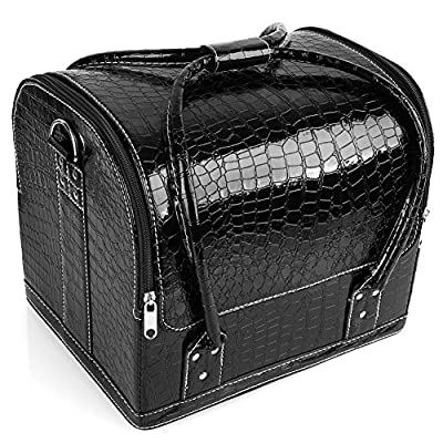 Best Cheap Deal for Amzdeal Professional Cosmetic Box Makeup Box Travel Toiletry Case Nail Art Storage Bag, PU Leather (Black) by Amzdeal - Free 2 Day Shipping Available