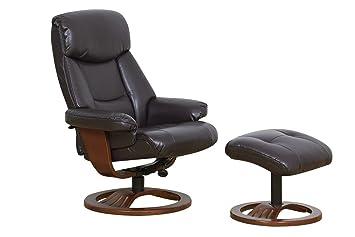 Muebles de la Alianza Global wehaveany cuero regenerado reclinable silla y reposapiés, Chocolate