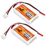 FLOUREON 2Packs 2S 7.4V 450mAh 20C Lipo Battery Pack with JST Plug for RC Car Truck Truggy Airplane Quadcopter UAV Drone FPV