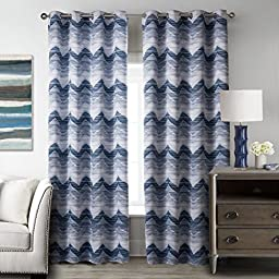 T2C Modern Blue Waves Pattern Window Blackout one Panel Curtain For Living Room 52\