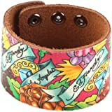 Ed Hardy EHHP3005 Rose Crackled Leather Bracelet