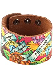 Ed Hardy EHHP3005 Rose Crackled Leather Bracelet