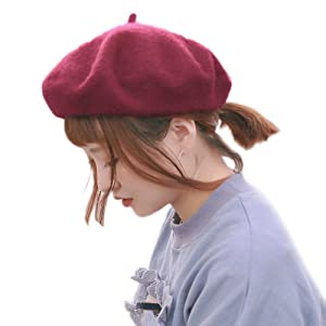 MONICO モ二コ ベレー レディース ベレー帽 帽子 無地 ウール 毛 暖 フェルト 赤 黒 白 ピンク ブラック カラフル m001&m002