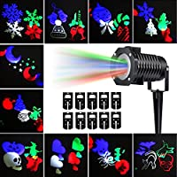 Christmas Projection Lights Led Projector Light, Kohree Christmas Outdoor Light Snowflake Spotlight 10 Pattern Sparkling Landscape Lights for Holiday Party Waterproof Multilcolor by Kohree
