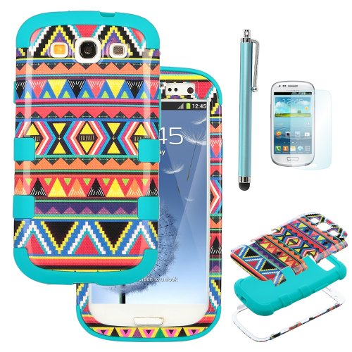 Pandamimi ULAK(TM)3IN1 Hybrid Hard Case + Silicone Bumper for Samsung Galaxy S3 SIII (At&t / Verizon / US Cellular / Sprint / T-Mobile / Virgin / Boost / MetroPCS / Unlocked) W/1xScreen Protector 1xTo
