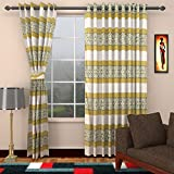 Ajay Furnishings 3 Piece Polyester Stripe Window Curtain - 5 ft, Green