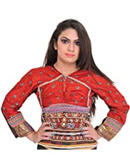 Exotic India Rococco-Red Backless Choli From Kutch With Antiquated Rabari - Red