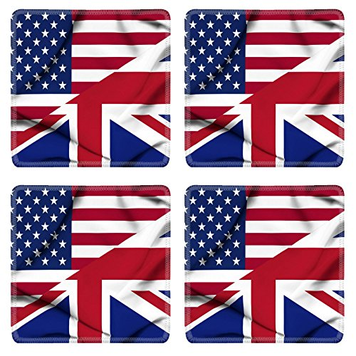 Liili natural rubber Square Coasters IMAGE ID: 19305815 United States of America and United Kingdom waving flag (Images Of America Ames compare prices)