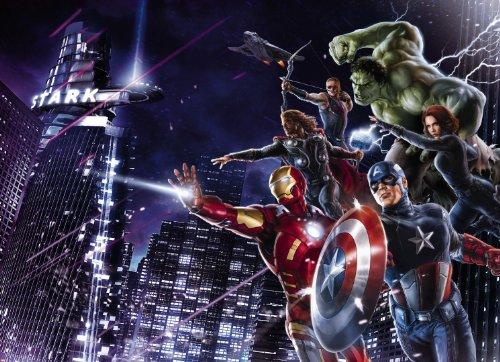 Poster murale gigantografia stampa digitale in alta risoluzione Komar su carta - Avengers Citynight - mis. 254x184 cm - cod. 4-434