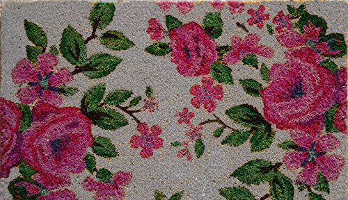 Pvc Tufted Non-Slip Coir Doormat, 18-Inch By 30-Inch, Floral Design.