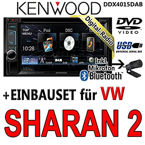 VW sharan 2-kenwood dDX4015DAB-cD uSB autoradio multimédia 2 dIN avec kit de montage