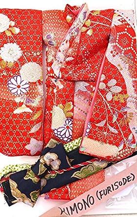 Fashion Doll Handmade Red/Silver Silk Kimono - (Kiddyland - Tokyo - 1990's)