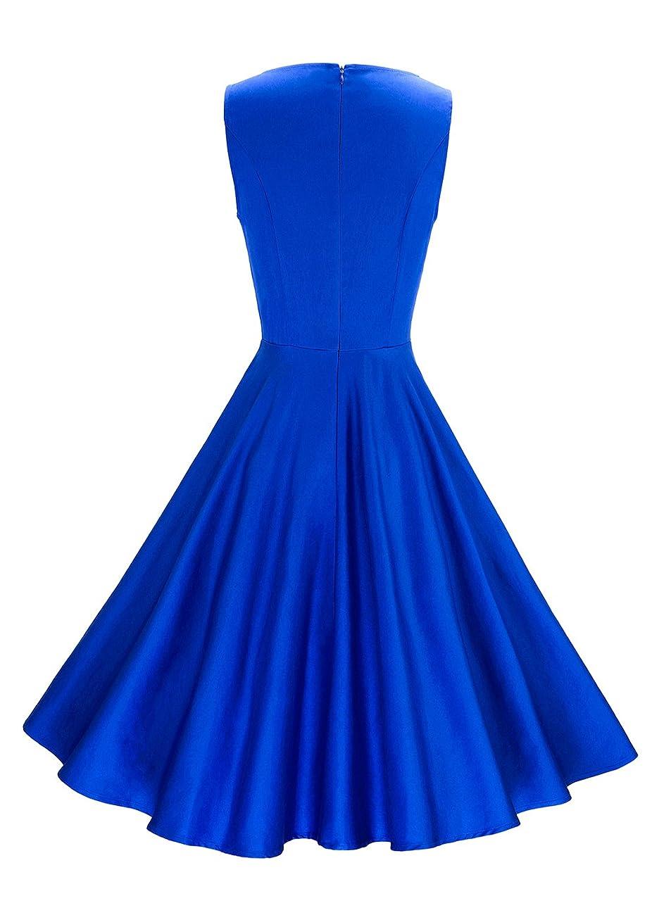 Anni Coco Women's Classy Audrey Hepburn 1950s Vintage Rockabilly Swing Dress blue 2